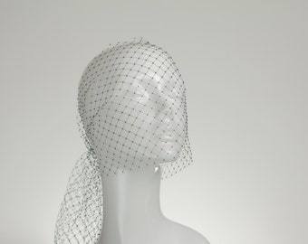 BLACK Couture/Handmade Millinery Veiling Illusion Netting Hat Net Birdcage RussianVeil