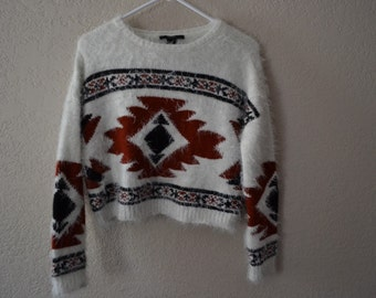 Modern Tribal Cropped Sweater