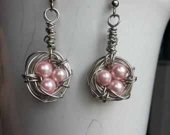 """Wire wrapped """"bird nest"""" earrings"""