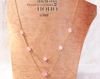 Sweet Pink Crystal Golden Necklace