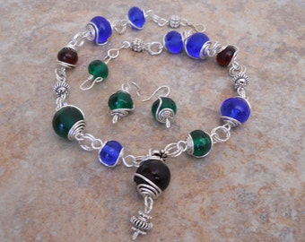 Lampwork bead and Sterling silver necklace set