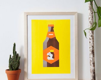 A3 risograph of a beer in fluor colors