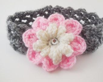 Flower Headband- Girls Headband- Netting Headband