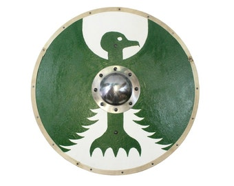 Painted round shield with bird in white/green, including humpbacks hand made shield