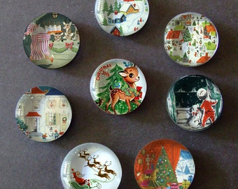 Vintage Christmas Card Inspired Glass Bubble Magnets - Set of 8 Magnets