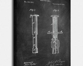 Corkscrew Canvas, Corkscrew Patent, Corkscrew Vintage, Corkscrew Blueprint, Corkscrew Print, Corkscrew Prints, Corkscrew Wall Art, Decor