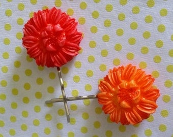 Flower bobby pins made to order from Art Deco casts
