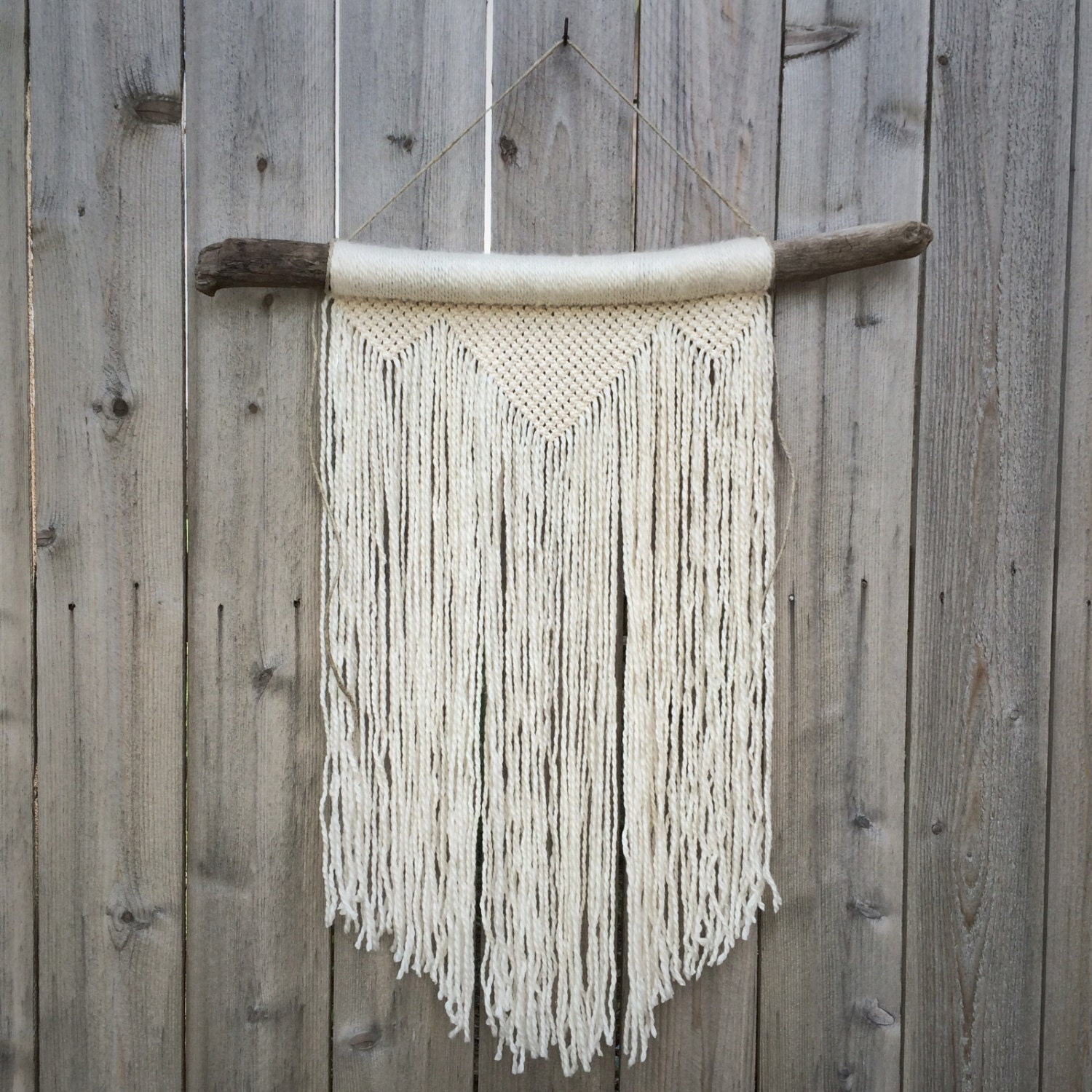 Driftwood Wall Hanging large white macrame wall hanging on driftwood large white