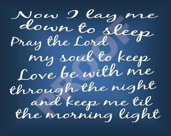 Bed Time Prayer 8X10 Print Art