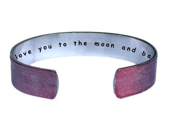 I love you to the moon and back   Cuff Bracelet Personalized Jewelry Hand Stamped Red Lace Aluminum