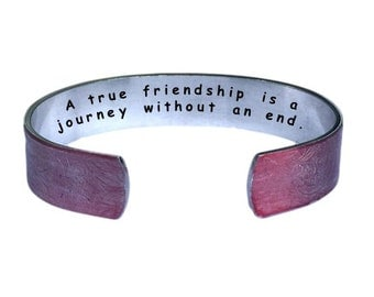 A true friendship is a journey without and end | Cuff Bracelet Personalized Jewelry Hand Stamped Red Lace Aluminum Friendship Inspiration