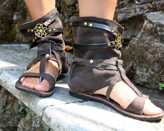 Ethnic leather sandals with seed of life