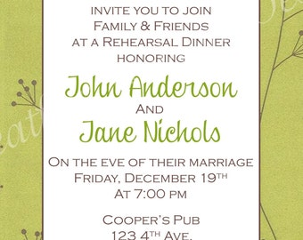 Brown & Green Dandelion Rehearsal Dinner Invitation