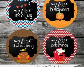 Set of Baby Holiday Stickers- Baby Milestone Stickers Baby Bodysuit Sticker Baby Shower Photo Prop