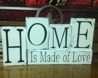 Home is Made of Love Hand Painted Block Set
