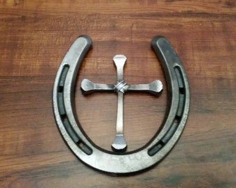 Horseshoe Nail Cross in Horseshoe