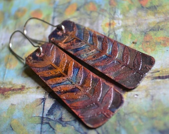Etched copper earrings - leaf design