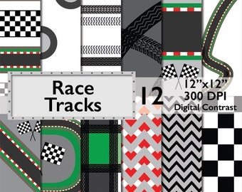 Race Tracks Digital Paper * Commercial Use * scrapbooking background, images, invitations, arts and craft tires, track, nascar racing, DP102