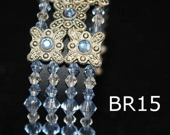 bracelets, sapphire beaded bracelet, sapphire bracelet, sapphire cuff bracelet, sapphire and silver bead bracelet, sapphire and silver