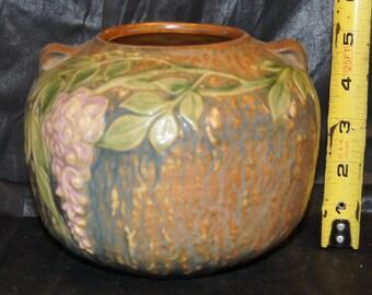 Roseville Wisteria Pattern Vase  Scarce Form  Lovely color