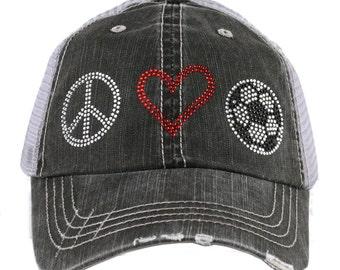 Rhinestone Peace, Love, Soccer Women's Trucker Cap - IAD-TC-245