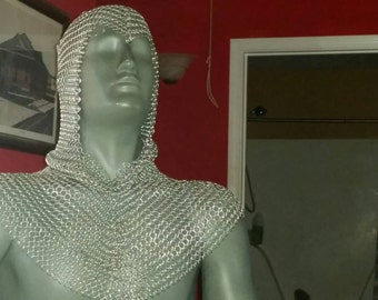 Full chainmail coif with attached mantle