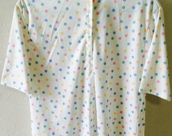 Vintage blouse by Blair, women's blouse, pastel polka dots