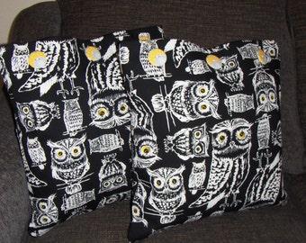 Owls Pillow Black White Modern