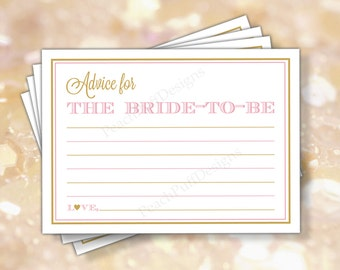 """Bridal Shower advice card 5x7"""" (INSTANT DOWNLOAD) - Advice for the bride - Printable advice cards - Pink and gold Bridal shower BR002"""