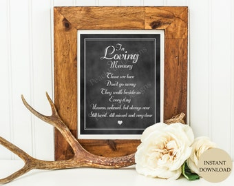 In loving memory sign (INSTANT DOWNLOAD) - Those we love dont go away - In loving memory wedding sign - Memorial sign