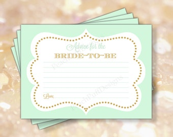 """Bridal Shower advice card 5x7"""" (INSTANT DOWNLOAD) - Advice for the bride - Printable advice cards - Mint and gold Bridal shower BR002"""