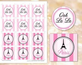 Paris cupcake toppers (INSTANT DOWNLOAD) - Paris tags - Paris baby shower - Paris labels - Paris stickers Paris Birthday MU005