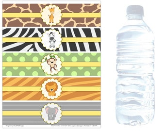 Safari water bottle labels (INSTANT DOWNLOAD) - Safari baby shower - Jungle baby shower decorations - Safari Birthday MU001