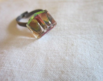 Antique Art Deco Cubist Aurora Borealis Sterling Silver Ring Unique