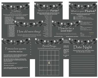 Printable Rustic Bridal Shower Game Package Set, Activities, Unique Bridal Shower Games, Bachelorette Games, Wedding Shower Games BS02