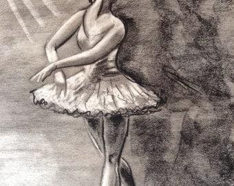Ballerina charcoal drawing