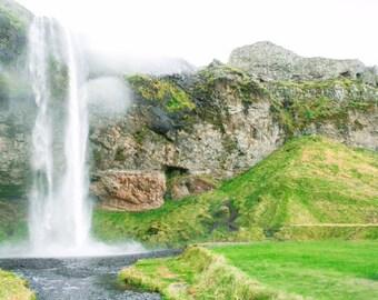 Iceland Waterfalls- Nature, Beauty, Iceland, Travel, Decor, Wall Art, Landscape, Greenery, Water, Artwork