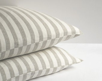 Linen Pillow Sham Case Natural Organic Standard Queen King Euro Square European All Size Pillowcase Striped Flax Cotton Soft Mix Fabric
