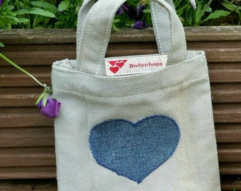 Small denim heart gift bag