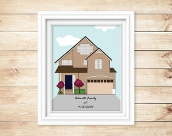 Custom home illustration Personalized home drawing as housewarming gift, anniversary gift or hostess gift