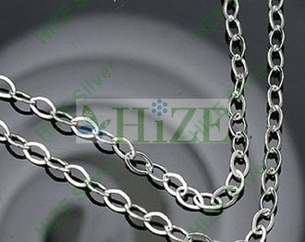 """HIZE CH041 925 Sterling Silver Chain by Foot Cable Link Bead Finding 2.75mm - 24"""""""