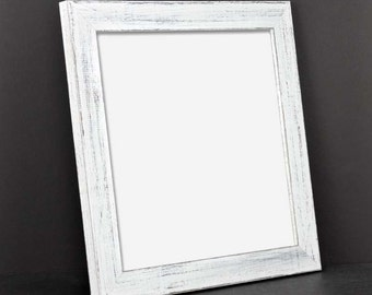 LARGE White Picture Frame - Rustic Reclaimed Distressed Barn Wood Style - All Wood - Choose your size - Custom Sizes Available