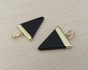 Black onyx triangle pendant black agate pendant Triangle gemstone Charms Gold Plated stone necklace making supplies gemstone jewelry 1 pc