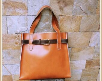 Real leather tote bag, Large bag, Caramel tote bag, Women Carry Bag,Office leather Bag, Laptop Bag