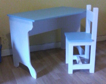 Children's handcrafted desk and chair, suit ages 8+ years.