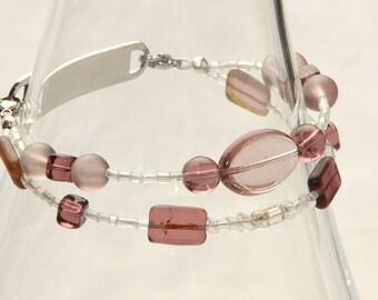 Amethyst glass bead medical ID bracelet