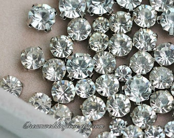 100pcs  4mm 4.5mm 10mm 12mm Crystal Clear Czech Sew on Rhinestones Silvery set with 4 Hole Slider /Wedding Supplies