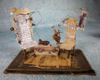 """Fairy Furniture, """"The Magical Childhood"""", wonderful little mounted scene with chairs and table"""