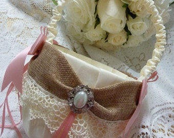 FLOWER GIRL BASKET burlap ivory and antique pink satin lace ribbon flower girl