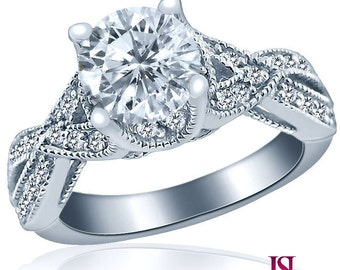 Solitaire Round Cut Diamond Engagement Ring 14k White Gold Waved Band 1.57 Carat